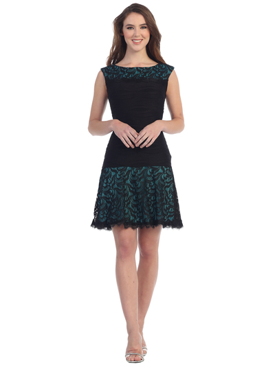 S8783 Boat Neckline Sleeveless Lace Cocktail Dress - Black Teal, Front View Medium