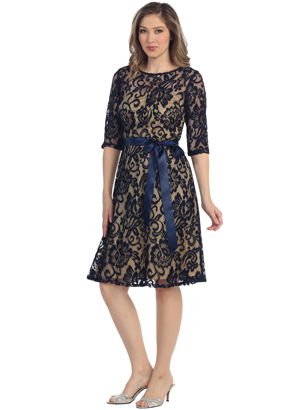 Black dress quarter sleeve - S8791 Lace Three Quarter Sleeve Cocktail Dress Navy Gold Front View Medium