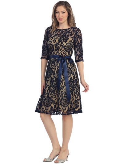 S8791 Lace Three Quarter Sleeve Cocktail Dress - Navy Gold, Front View Medium