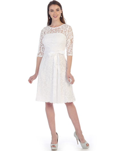 S8791 Lace Three Quarter Sleeve Cocktail Dress - White, Front View Medium