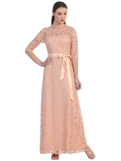 S8793 Three Quarter Sleeve Lace Evening Dress - Peach, Front View Medium