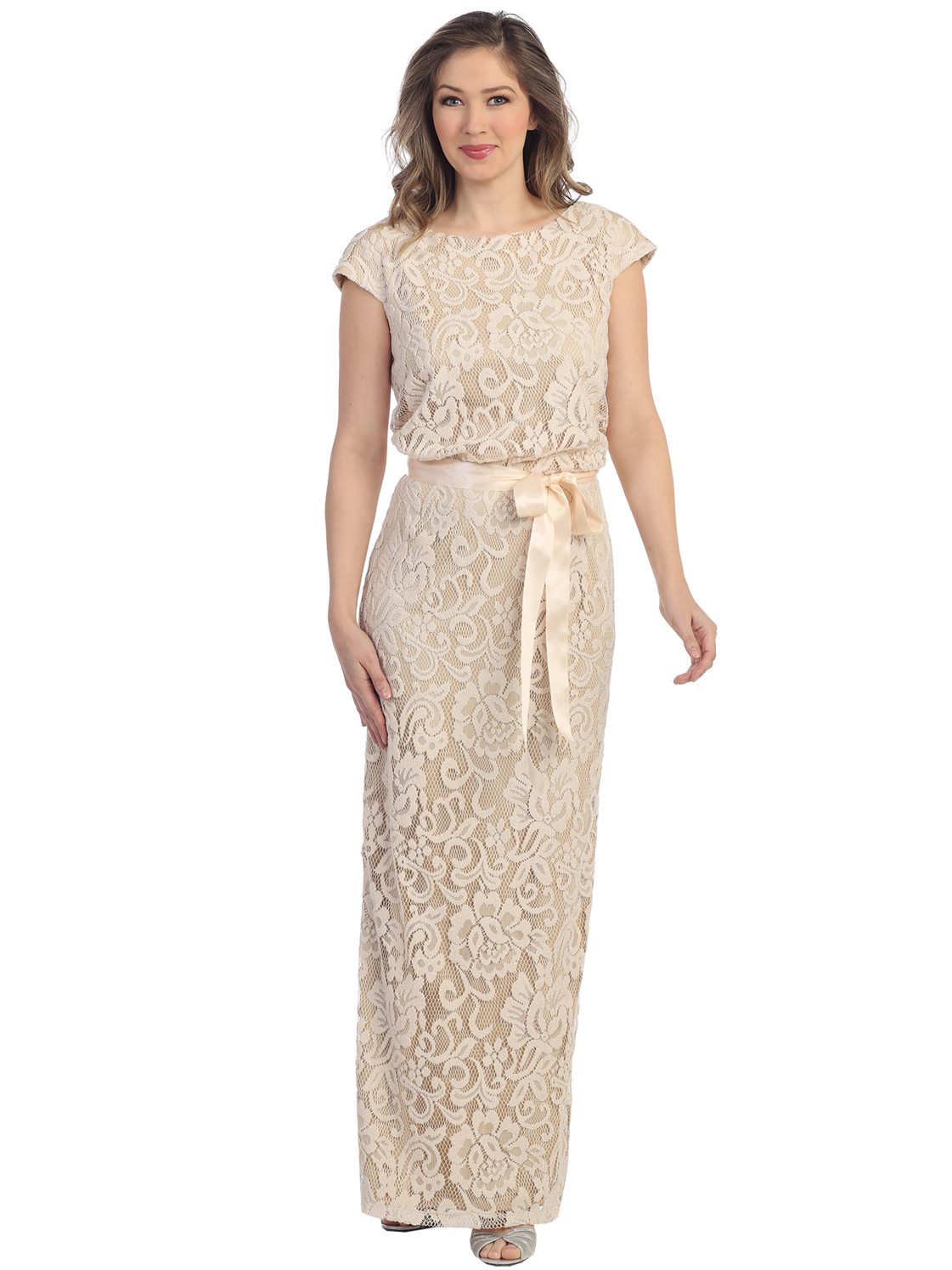 Cap Sleeve Lace Overlay Evening Dress with Sash Belt | Sung Boutique ...