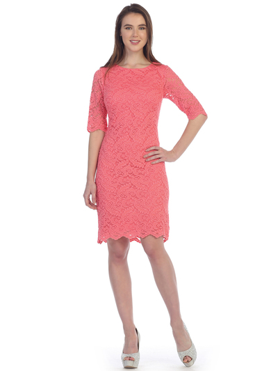 S8795 Boat Neckline Three Quarter Sleeve Cocktail Dress - Coral, Front View Medium