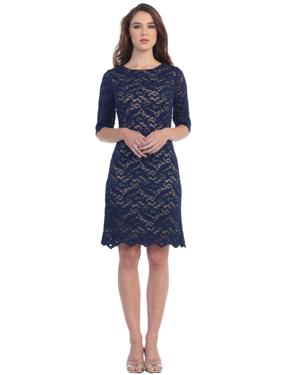 S8795 Boat Neckline Three Quarter Sleeve Cocktail Dress - Navy Gold, Front View Medium