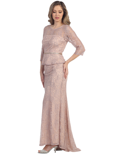 S8796 Mother of the Bride Evening Dress with Belt and Train - Peach, Front View Medium