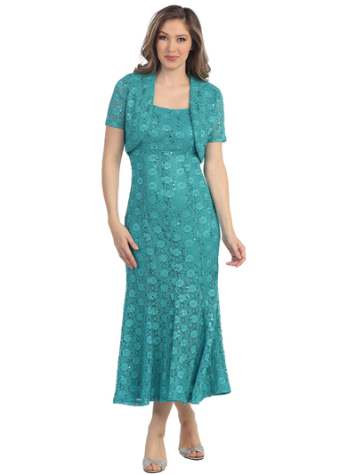 S8797 Long Tea Length Cocktail Dress with Bolero - Jade, Front View Medium