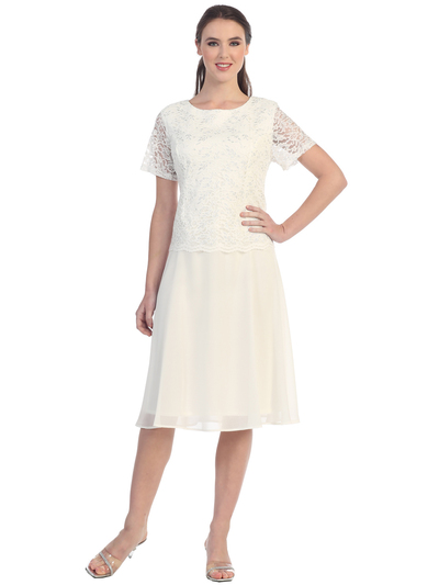 S8799 Short Sleeve Tea Length Cocktail Dress - Off White, Front View Medium
