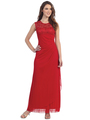 S8800 Sleeveless Lace Bodice Evening Dress - Red, Front View Thumbnail