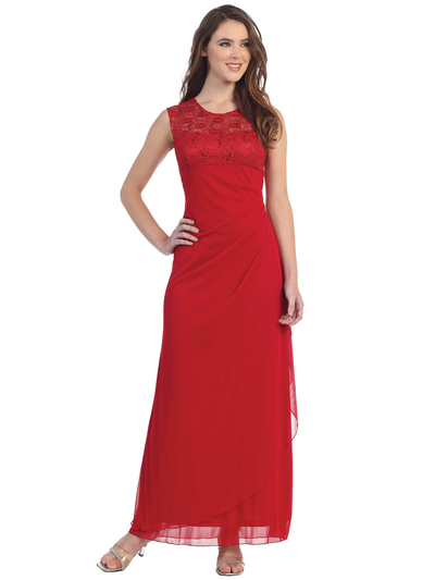 S8800 Sleeveless Lace Bodice Evening Dress - Red, Front View Medium