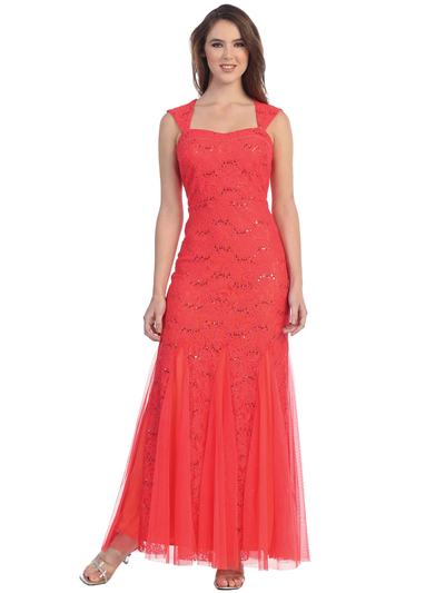 S8801 Wide Strap Lace Evening Dress with Godet Hem - Coral, Front View Medium