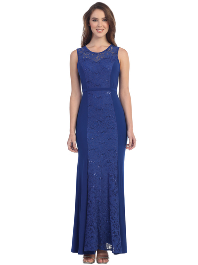 S8804 Sleeveless Lace Evening Dress - Royal Blue, Front View Medium