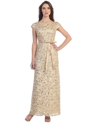 S8811 Cap Sleeve Floor Length Evening Dress, Gold