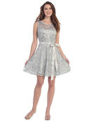 S8816 Sleeveless Lace Short Cocktail Dress, Silver