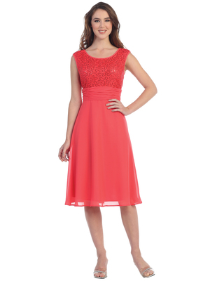 S8819 Scoop Neckline Tea Length Cocktail Dress, Coral