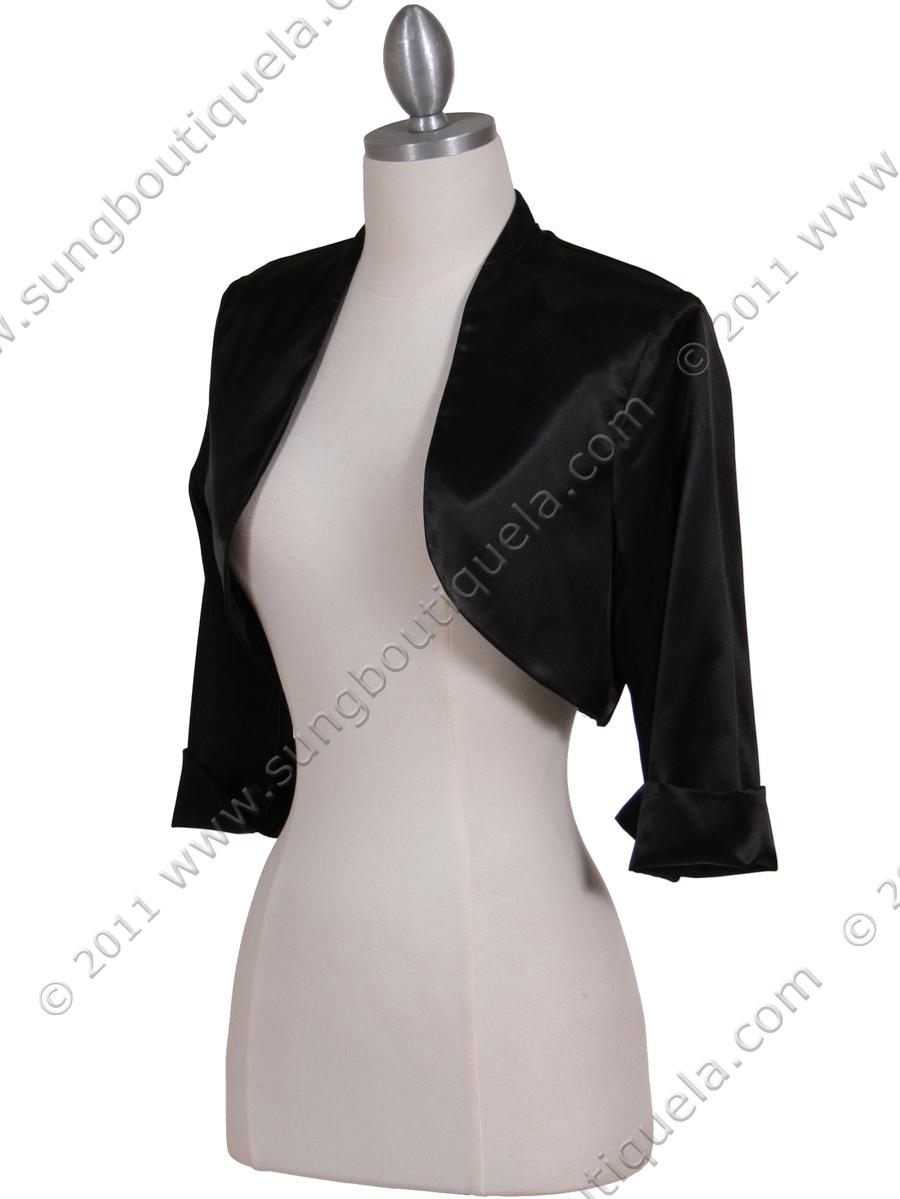 Black Satin Bolero Jacket | Sung Boutique L.A.