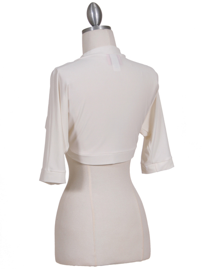 B121 Ivory Bolero Jacket - Ivory, Back View Medium