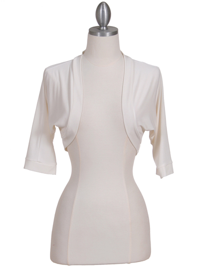 B121 Ivory Bolero Jacket - Ivory, Front View Medium