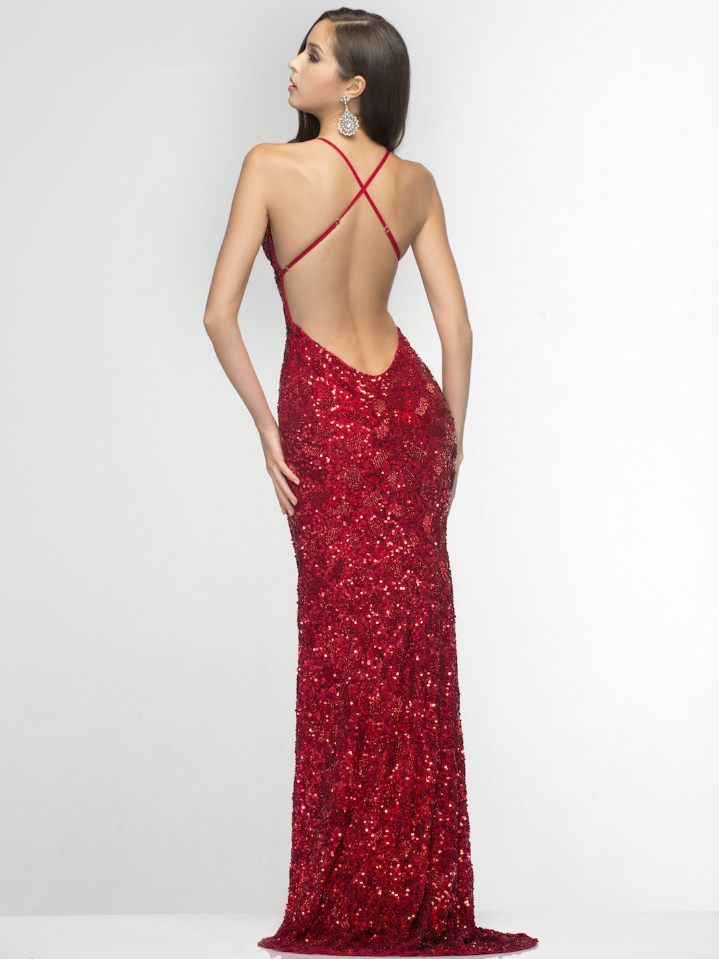 Plunge Bead and Sequin Prom Dress by Scala | Sung Boutique L.A.