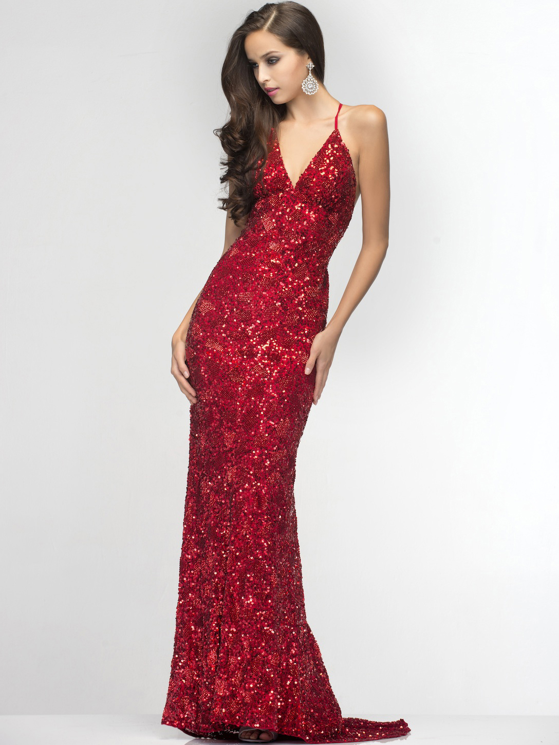 Plunge Bead and Sequin Prom Dress by Scala   Sung Boutique L.A.