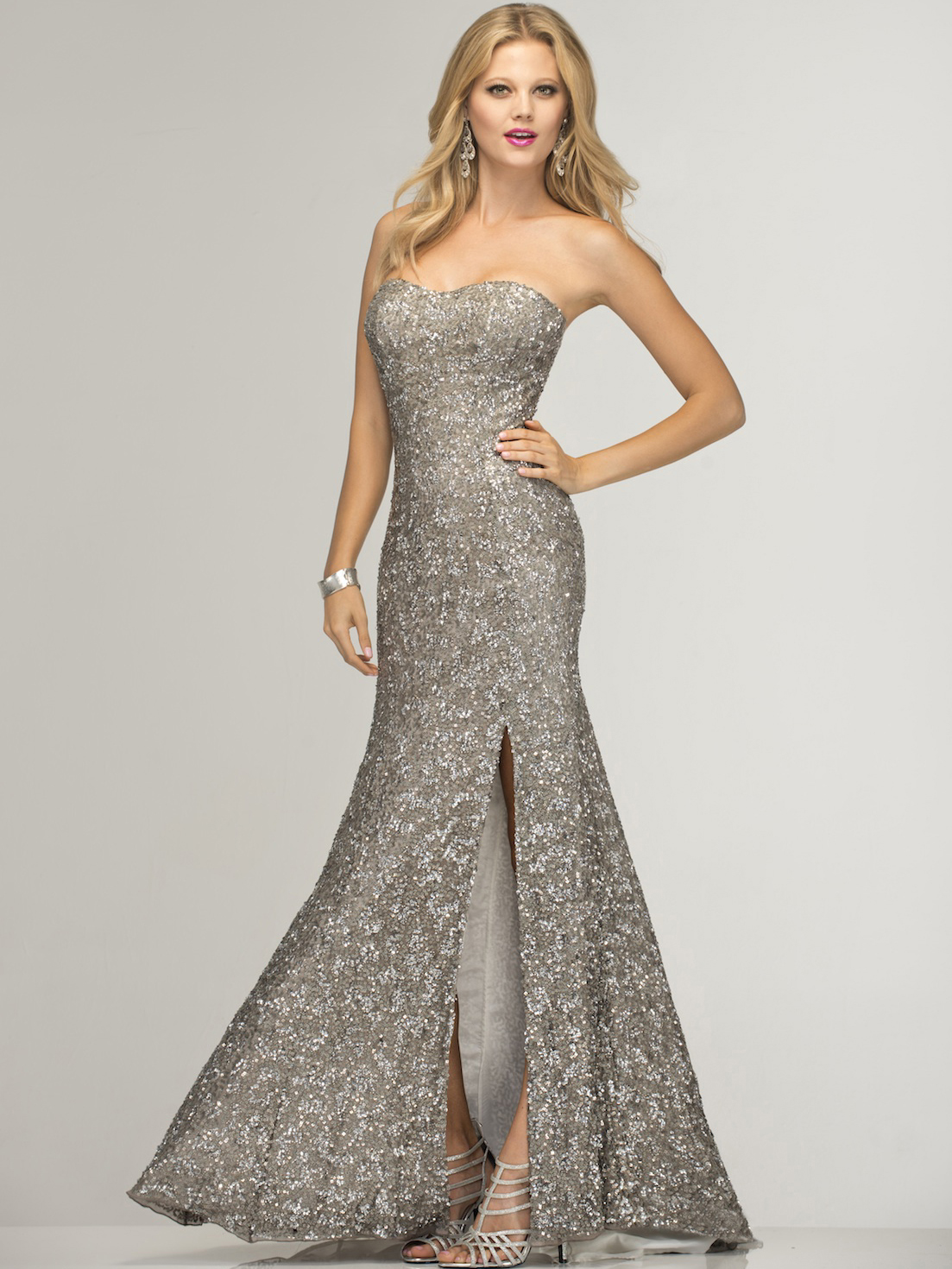 Lead and Silver Prom Gown by Scala | Sung Boutique L.A.