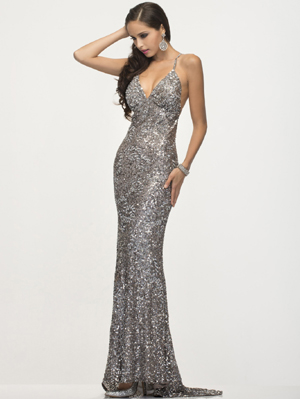 SC47539 Platinum Prom Gown by Scala, Platinum