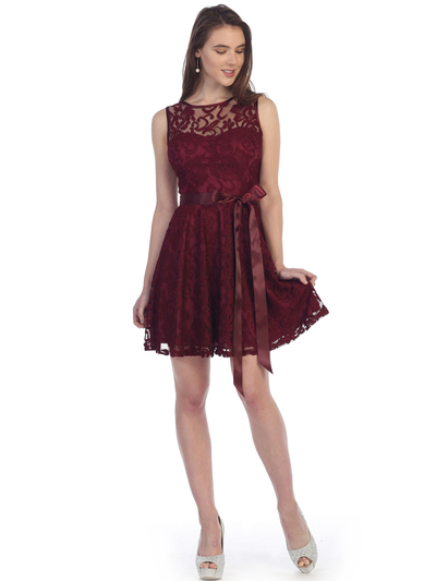 SF-8760 Sleeveless Lace Cocktail Dress - Burgundy, Front View Medium