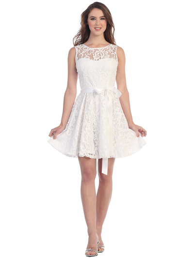 SF-8760 Sleeveless Lace Cocktail Dress - White, Front View Medium