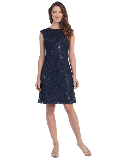 SF-8803 Sleeveless Little Black Cocktail Dress - Navy, Front View Medium