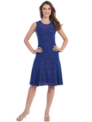 SF-8807 Knee Length Cocktail Dress with Lace, Royal Blue