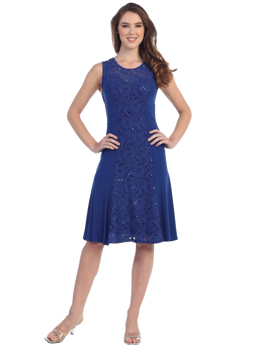 Knee length blue cocktail dresses
