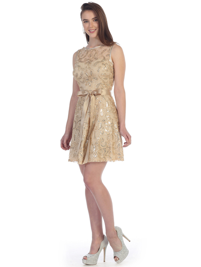 SF-8816 Sleeveless Lace Short Cocktail Dress - Gold, Front View Medium