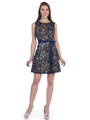 SF-8816 Sleeveless Lace Short Cocktail Dress - Navy Gold, Front View Thumbnail