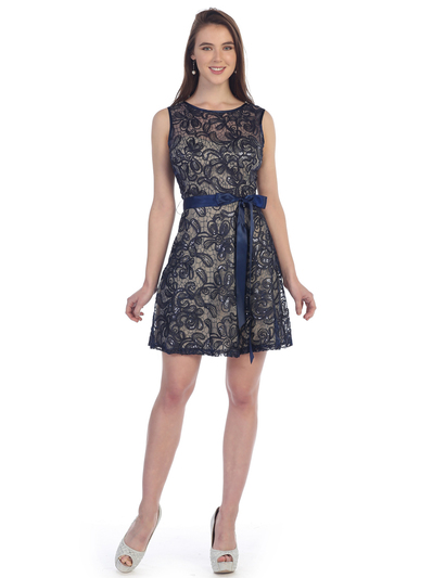 SF-8816 Sleeveless Lace Short Cocktail Dress - Navy Gold, Front View Medium