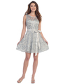 SF-8816 Sleeveless Lace Short Cocktail Dress - Silver, Front View Thumbnail
