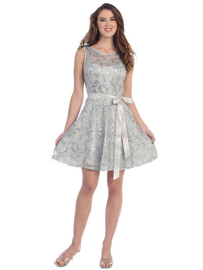 SF-8816 Sleeveless Lace Short Cocktail Dress - Silver, Front View Medium
