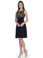 SF-8820 Sleeveless Knee Length Cocktail Dress with Keyhole - Black Gold, Front View Thumbnail