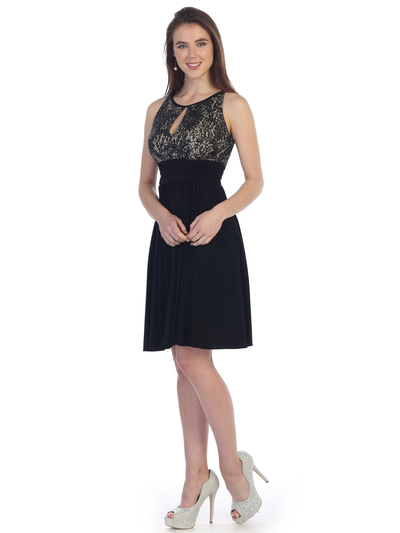 SF-8820 Sleeveless Knee Length Cocktail Dress with Keyhole - Black Gold, Front View Medium