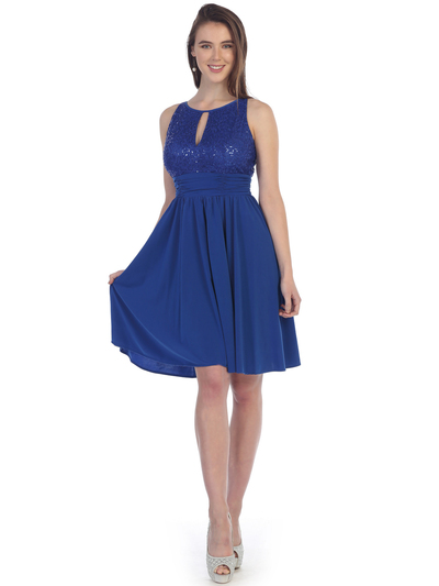 SF-8820 Sleeveless Knee Length Cocktail Dress with Keyhole - Royal Blue, Front View Medium