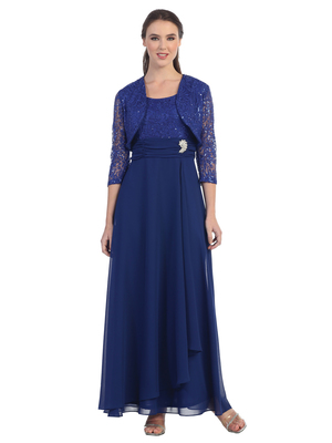 SF-8822 Three-Quarter Sleeve Mother-of-the-Bride Dress, Royal Blue