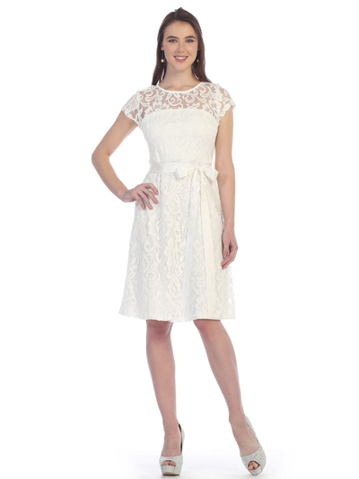 SF-8826 Lace Overlay Cocktail Dress with Sash - Off White, Front View Medium