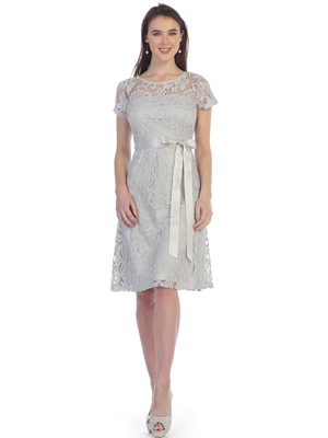 SF-8826 Lace Overlay Cocktail Dress with Sash, Silver