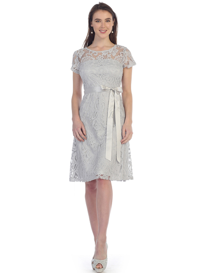 SF-8826 Lace Overlay Cocktail Dress with Sash - Silver, Front View Medium