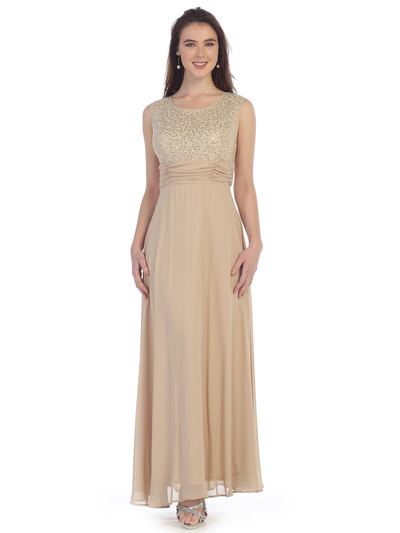 SF-8827 Sleeveless Chiffon Long Evening Dress - Khaki, Front View Medium