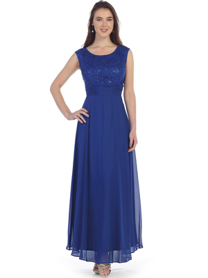 SF-8827 Sleeveless Chiffon Long Evening Dress, Royal Blue