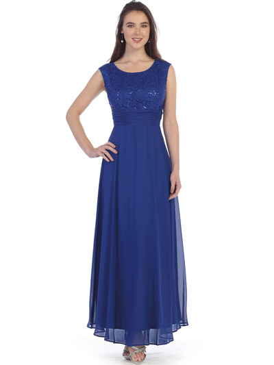 SF-8827 Sleeveless Chiffon Long Evening Dress - Royal Blue, Front View Medium
