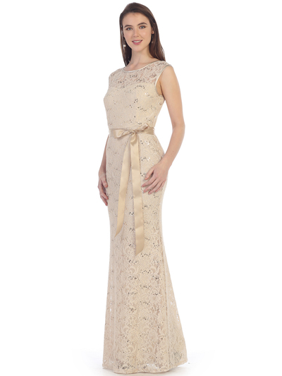 SF-8834 Lace Overlay Evening Dress with Sash - Khaki, Front View Medium