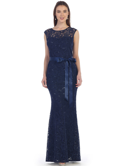SF-8834 Lace Overlay Evening Dress with Sash - Navy, Front View Medium