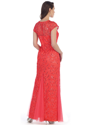 SF-8835 Sleeveless Chiffon Long Evening Dress - Coral, Back View Medium