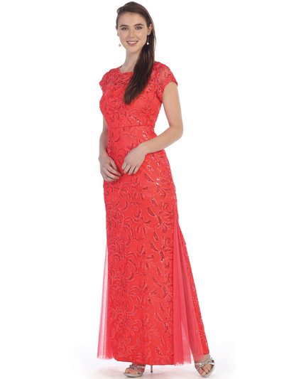 SF-8835 Sleeveless Chiffon Long Evening Dress - Coral, Front View Medium