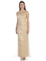 SF-8835 Sleeveless Chiffon Long Evening Dress - Gold, Front View Thumbnail